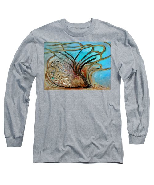 Long Sleeve T-Shirt featuring the painting Fossil In The Deep by Suzanne McKee