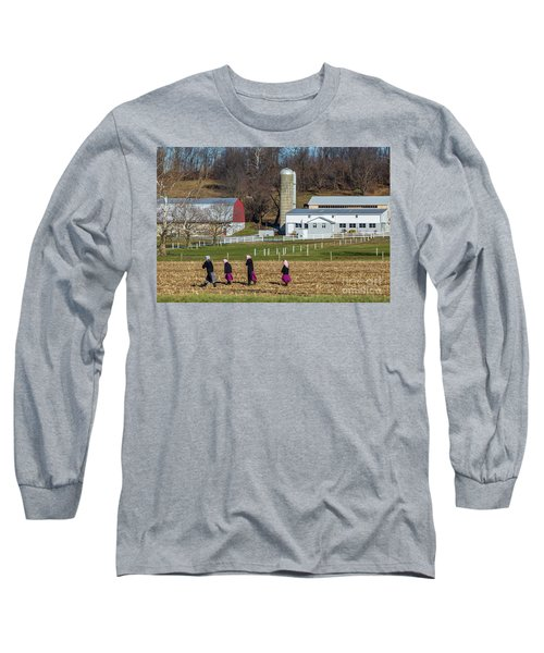 Four Amish Women In Field Long Sleeve T-Shirt