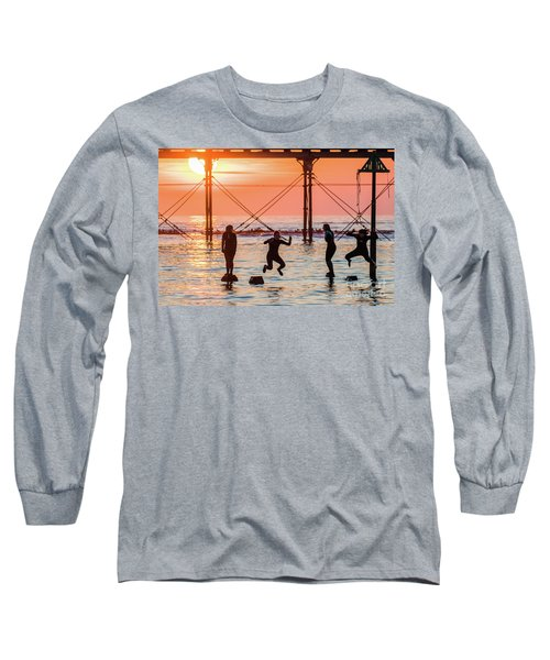 Four Girls Jumping Into The Sea At Sunset Long Sleeve T-Shirt