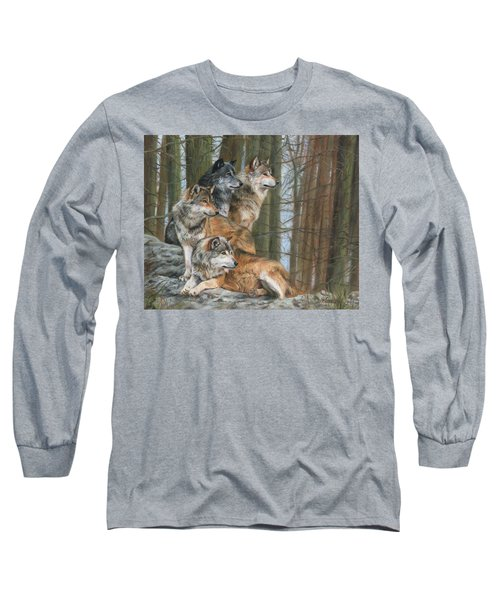 Long Sleeve T-Shirt featuring the painting Four Wolves by David Stribbling