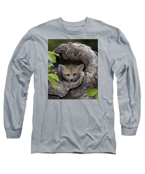 Fox Kit In Log Long Sleeve T-Shirt