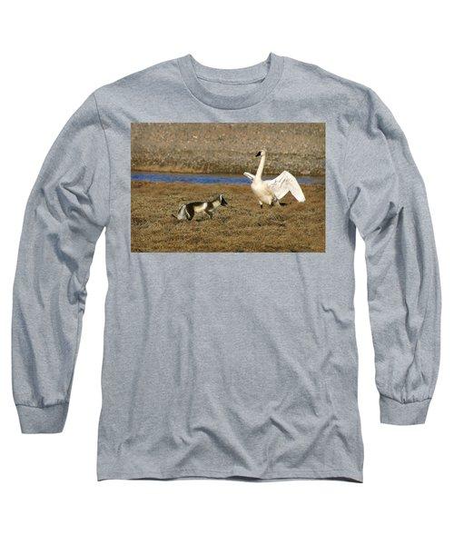 Fox Vs Swan Long Sleeve T-Shirt by Anthony Jones