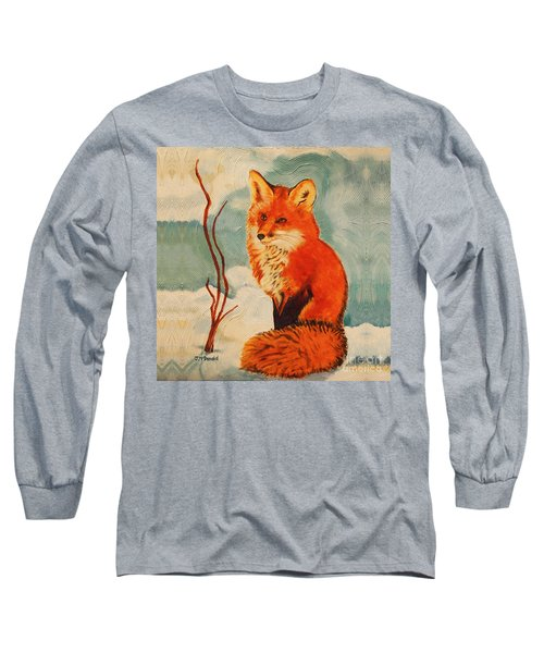 Foxy Presence Throw Pillow Long Sleeve T-Shirt by Janet McDonald