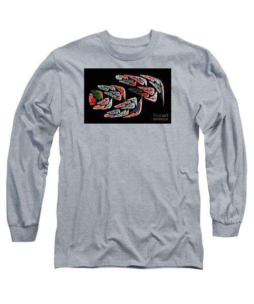 Fractal Crochet On The Computer Long Sleeve T-Shirt by Merton Allen
