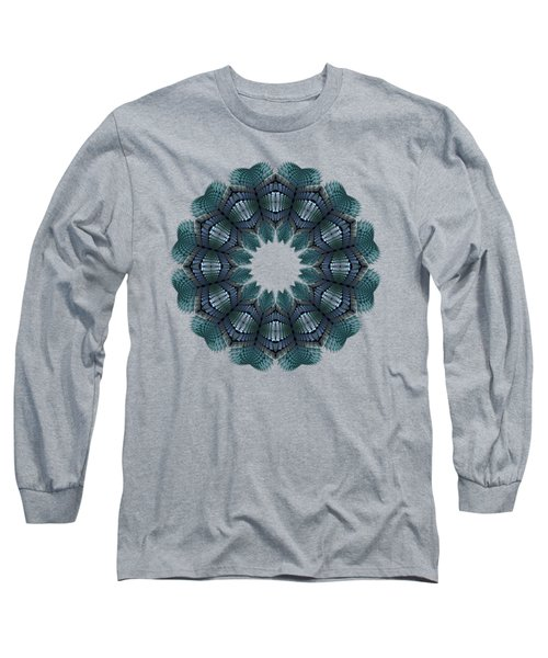 Fractal Wreath-32 Teal T-shirt Long Sleeve T-Shirt