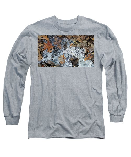 Fractured Ice Among Fall Leaves Long Sleeve T-Shirt