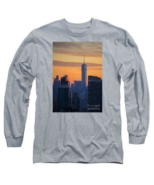 Freedom Tower At Sunset Long Sleeve T-Shirt by Diane Diederich