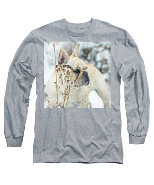 French Bulldog In The Snow Long Sleeve T-Shirt