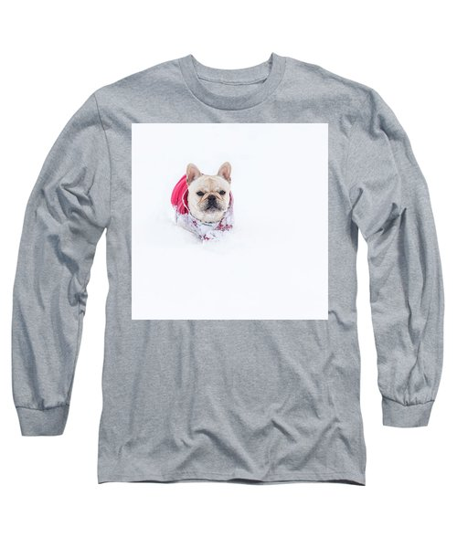 Frenchie In The Snow Long Sleeve T-Shirt