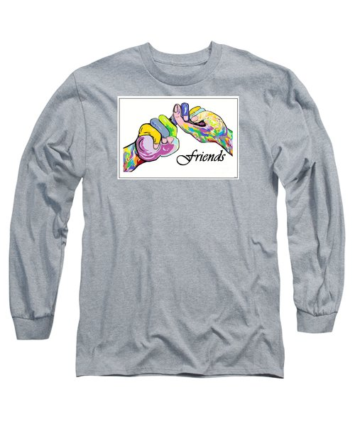 Friends . . . An American Sign Language Painting Long Sleeve T-Shirt by Eloise Schneider
