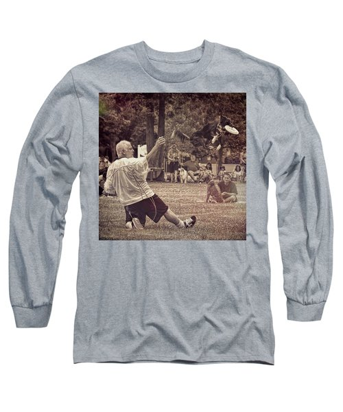 Long Sleeve T-Shirt featuring the photograph Frisbee Catcher by Lewis Mann