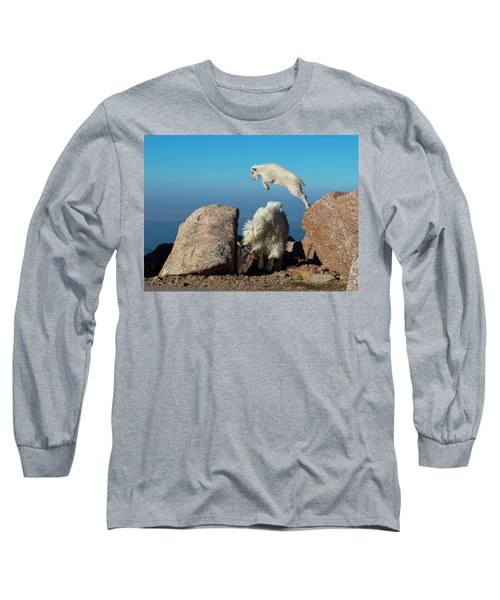 Leaping Baby Mountain Goat Long Sleeve T-Shirt