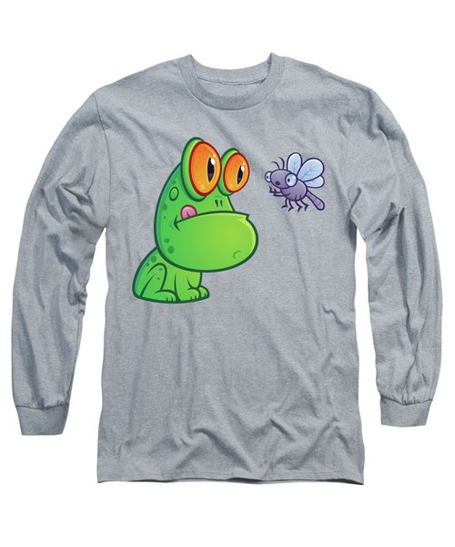 Frog And Dragonfly Long Sleeve T-Shirt by John Schwegel