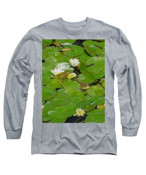 Frog With Water Lilies Long Sleeve T-Shirt by Mark Barclay