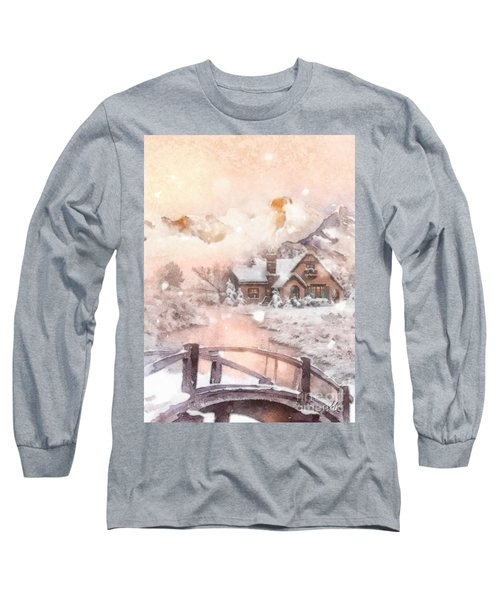 Long Sleeve T-Shirt featuring the painting Frosty Creek by Mo T