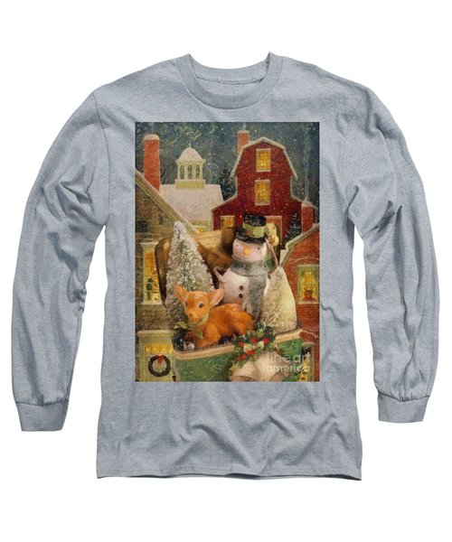 Long Sleeve T-Shirt featuring the painting Frosty The Snowman by Mo T