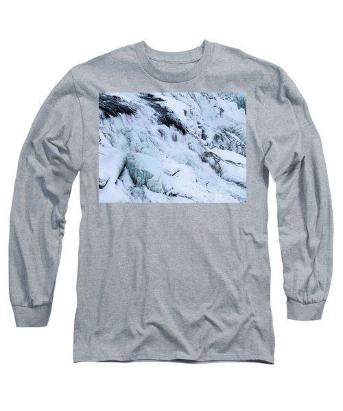 Frozen Gullfoss In Winter Long Sleeve T-Shirt