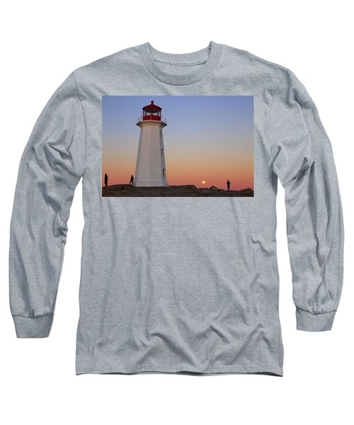 Full Moon At Peggy's Point Lighthouse, Nova Scotia Long Sleeve T-Shirt