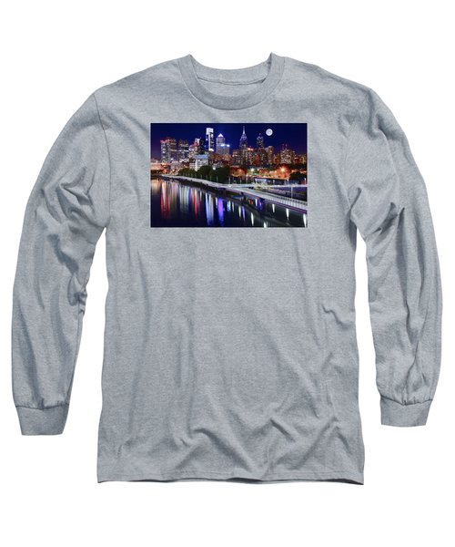 Full Moon Over Philly Long Sleeve T-Shirt by Frozen in Time Fine Art Photography