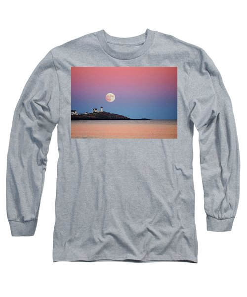 Full Moon Rising At Nubble Light Long Sleeve T-Shirt