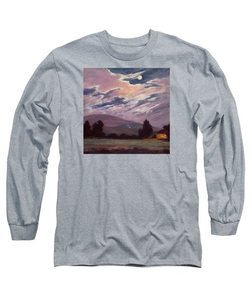 Full Moon With Clouds Long Sleeve T-Shirt by Jane Thorpe