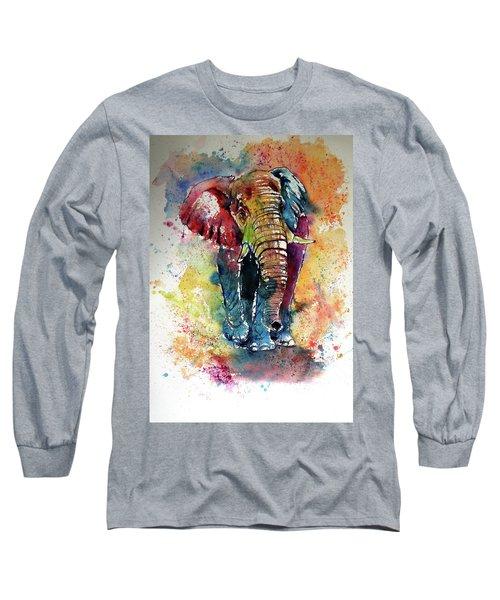 Long Sleeve T-Shirt featuring the painting Funny Elephant by Kovacs Anna Brigitta