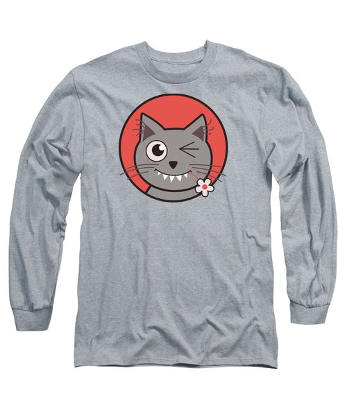 Funny Winking Cartoon Kitty Cat Long Sleeve T-Shirt