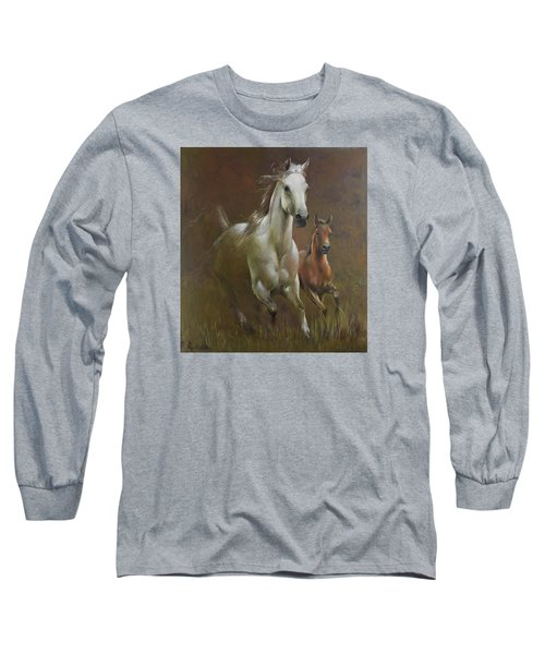 Gallop In The Eyelash Of The Morning Long Sleeve T-Shirt by Vali Irina Ciobanu