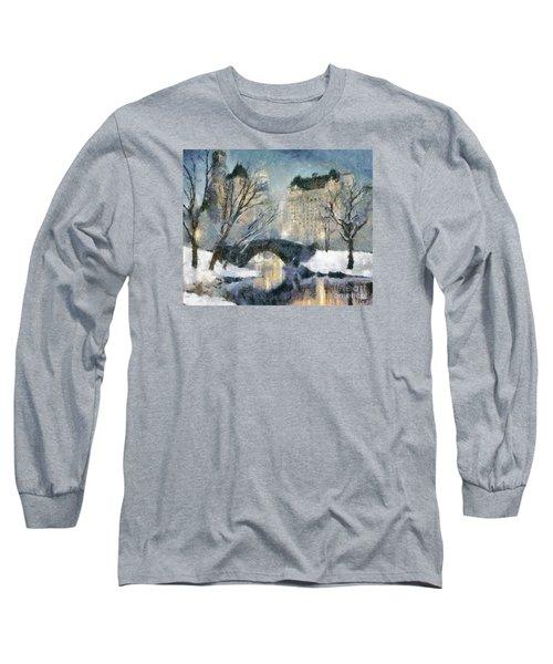 Gapstow Bridge In Snow Long Sleeve T-Shirt by Dragica  Micki Fortuna