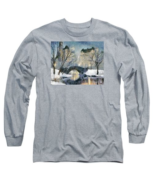 Gapstow Bridge In Snow Long Sleeve T-Shirt