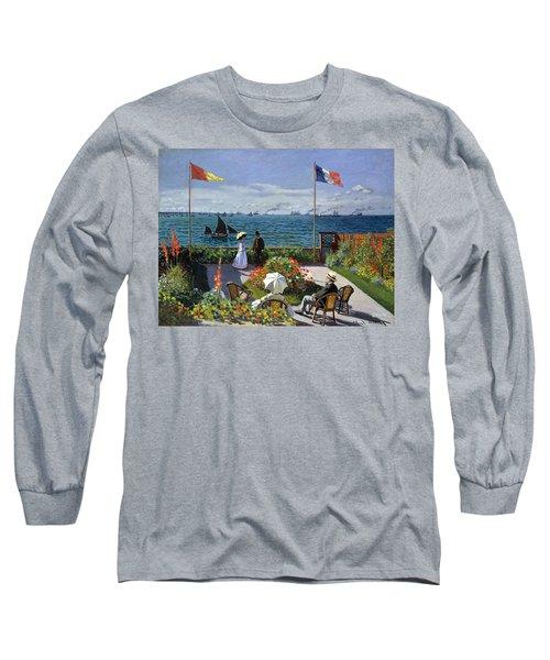 Garden At Sainte Adresse By Claude Monet Long Sleeve T-Shirt