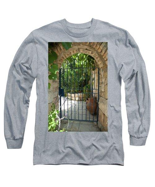 Long Sleeve T-Shirt featuring the photograph Garden Door Entrance by Yoel Koskas