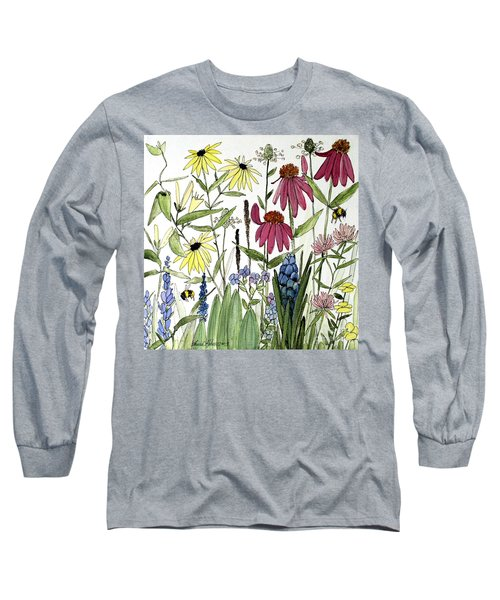 Garden Flowers With Bees Long Sleeve T-Shirt