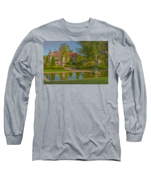 Garden Fountain At Ames Free Library Long Sleeve T-Shirt