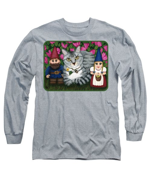 Garden Friends - Tabby Cat And Gnomes Long Sleeve T-Shirt