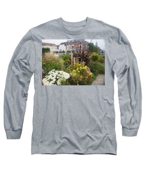Long Sleeve T-Shirt featuring the photograph Gardens At Albert Train Station In France by Therese Alcorn