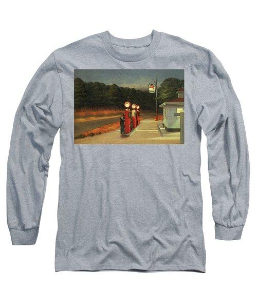 Gas  Long Sleeve T-Shirt by Edward Hopper