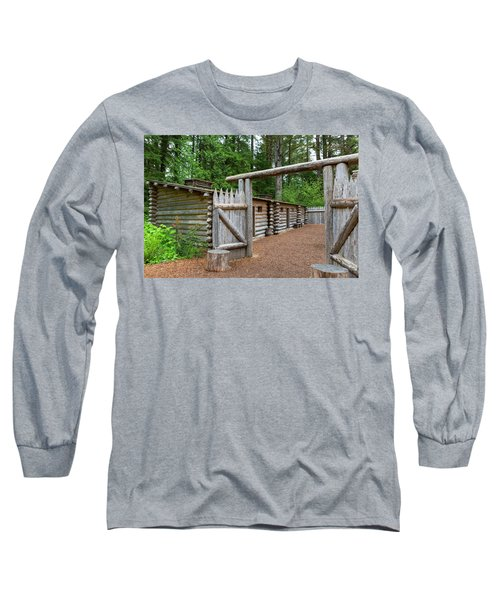 Gate To Log Camp At Fort Clatsop Long Sleeve T-Shirt