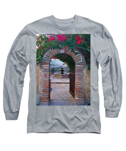 Gate To The Sacred Garden And Bell Wall Mission San Juan Capistrano California Long Sleeve T-Shirt