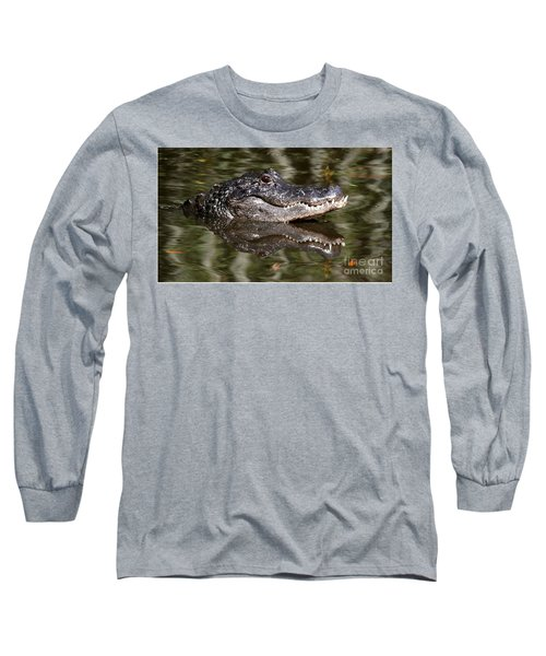 Gator With Dragonfly Long Sleeve T-Shirt by Myrna Bradshaw