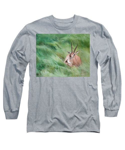 Long Sleeve T-Shirt featuring the painting Gazelle In The Grass by Joshua Martin