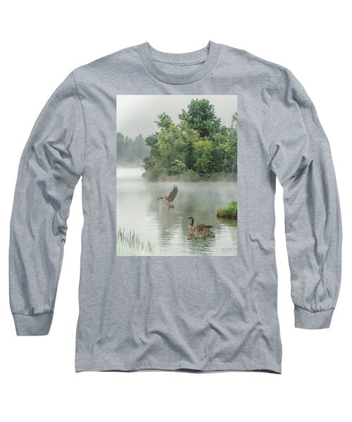 Geese On Misty Lake Long Sleeve T-Shirt