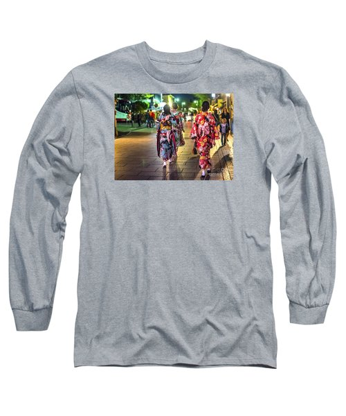 Long Sleeve T-Shirt featuring the photograph Geishas In A Rush by Pravine Chester