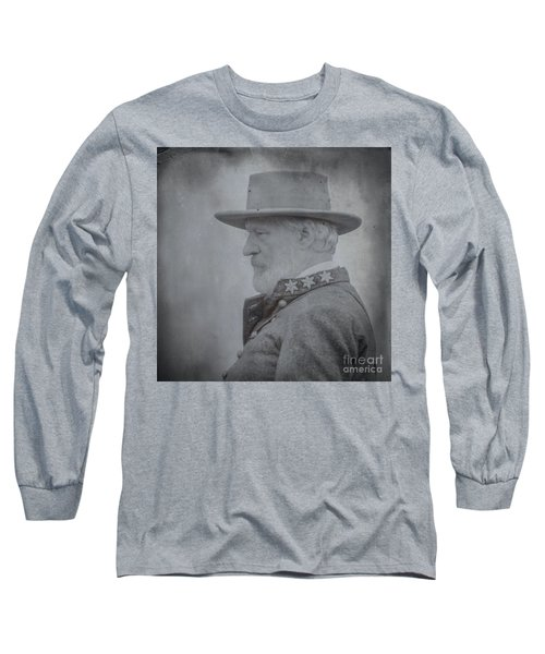 Long Sleeve T-Shirt featuring the digital art General Robert E Lee Portrait  by Randy Steele