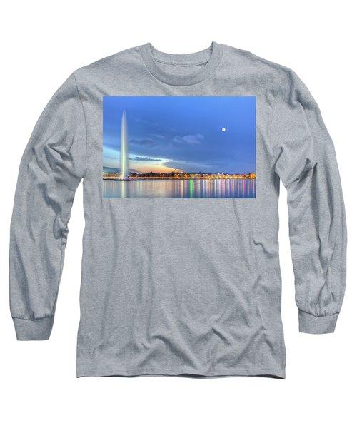 Geneva Lake With Famous Fountain, Switzerland, Hdr Long Sleeve T-Shirt