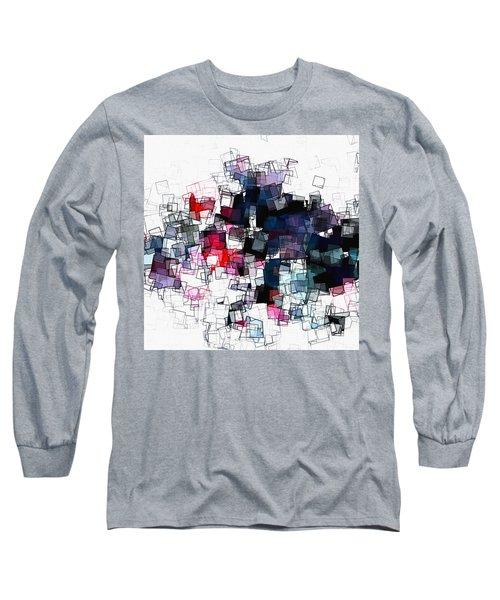 Geometric Skyline / Cityscape Abstract Art Long Sleeve T-Shirt by Ayse Deniz