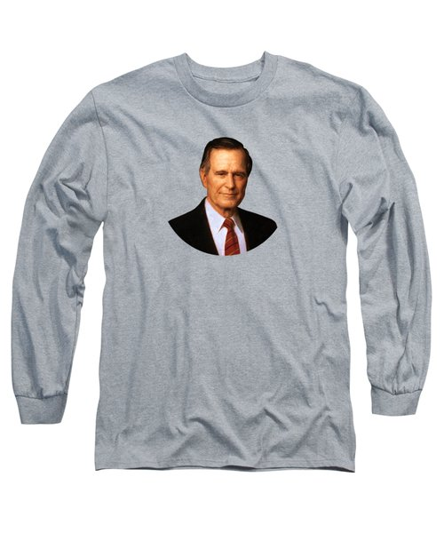 George Hw Bush Presidential Portrait Long Sleeve T-Shirt by War Is Hell Store