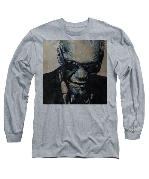Long Sleeve T-Shirt featuring the painting Georgia On My Mind - Ray Charles  by Paul Lovering