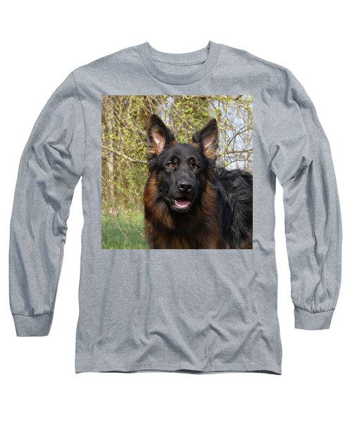 Long Sleeve T-Shirt featuring the photograph German Shepherd Close Up by Sandy Keeton