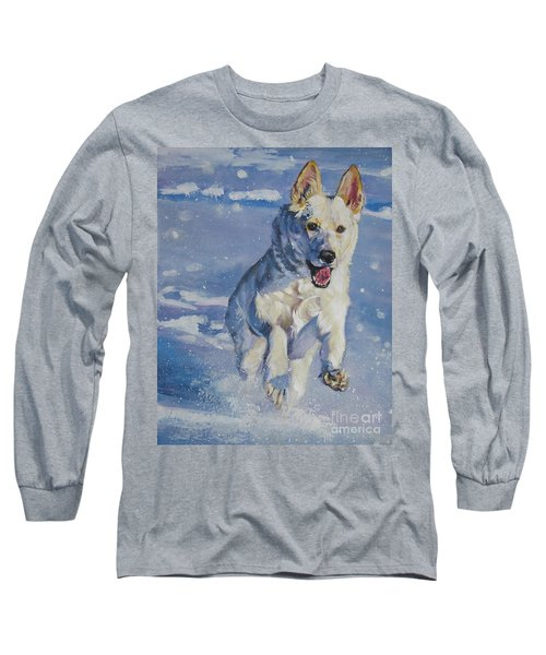 German Shepherd White In Snow Long Sleeve T-Shirt by Lee Ann Shepard